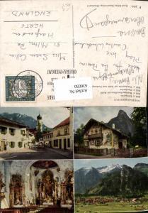 636050,Mehrbild Ak Oberammergau Dorfpartie Rotkäppchen-Haus Pfarrkirche