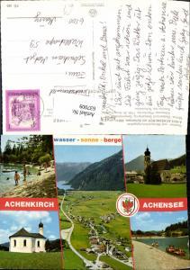 637009,Mehrbild Ak Achenkirch a. Achensee Badestrand Seecamping Pfarrkirche