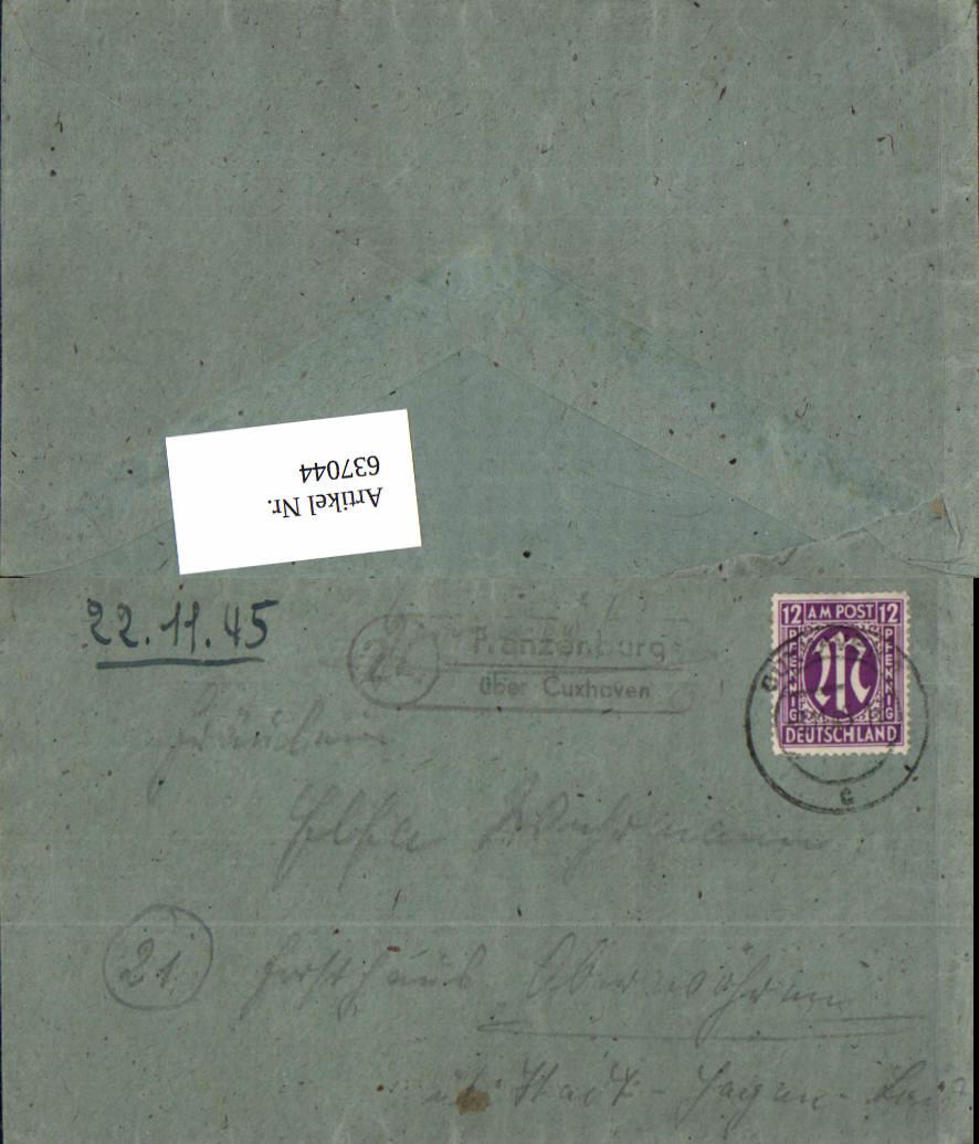 637044,Franzenburg über Cuxhaven Posthilfsstellenstempel n. Obernwöhren Stadthagen  0