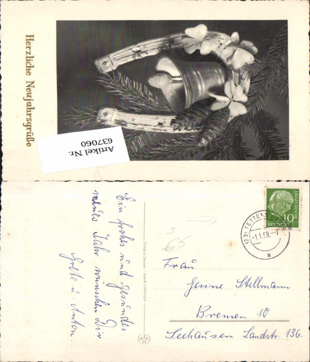 637060,Stempel Tettens Jever n. Bremen Seehausen Hufeisen Glocke 0