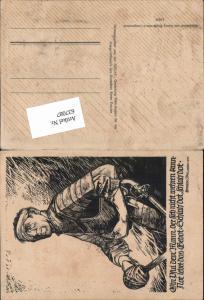 Linolschnitt Georg Sluyterman v. Langeweyde Hermann Löns Propaganda Soldat verwundet