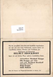 WK 2 Oberleutnant Helmut Brockhoff Sterbebild Kiel Hof Hammer Wuppertal Vohwinkel 1943