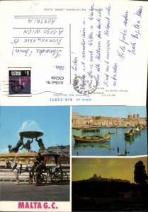 636306,Mehrbild Ak Malta G. C. Triton Fountain Mdina Marsaxlokk Kutsche