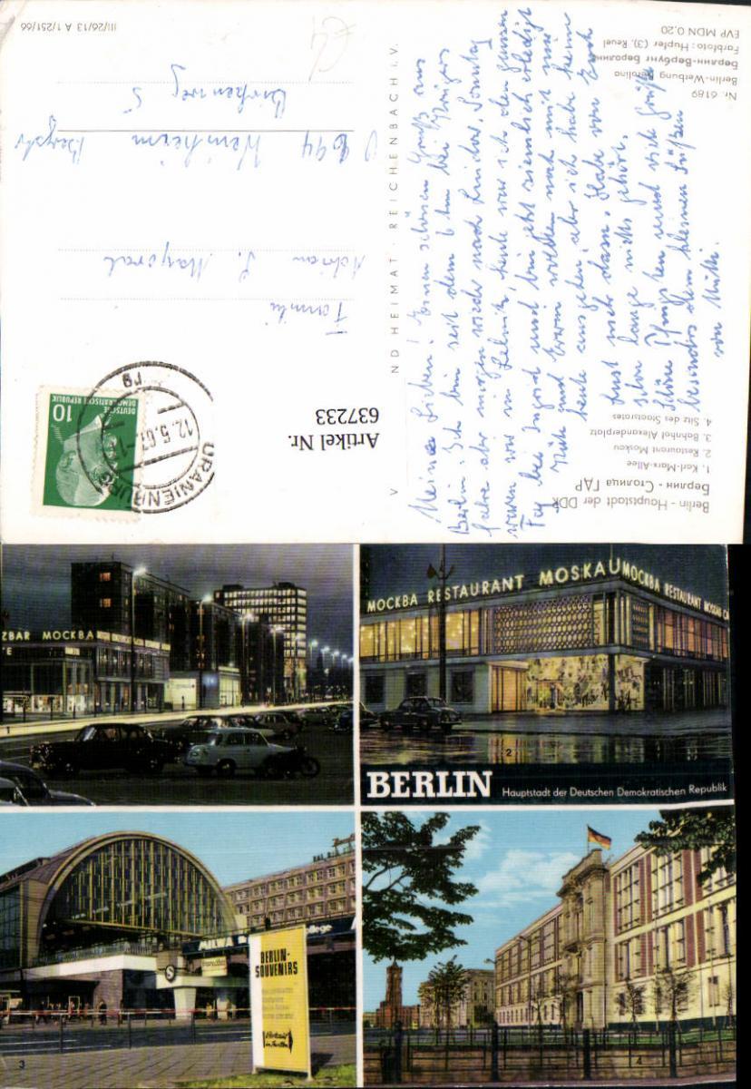637233,Mehrbild Ak Berlin DDR Mockba Restaurant Bahnhof Alexanderplatz 0