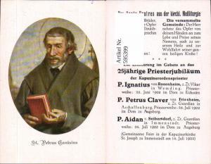 595399,Andachtsbild Heiligenbildchen St Petrus Canisius Priesterjubiläum P. Ignatius Rosenheim P. Petrus Claver Frieshei
