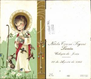 610562,Andachtsbild Heiligenbildchen Kind Hase Colegio de Jesus Peru