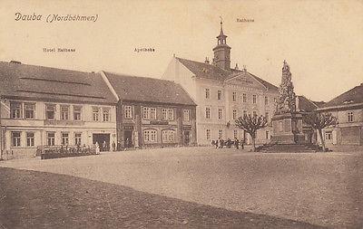 Ak Dauba Dubá Okres Ceska Lipa Böhmen Rathaus Hotel Tschechien gel 1918