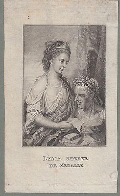 Lydia Sterne de Medalle Tochter von Laurence Sterne Orig Stahlstich 1840
