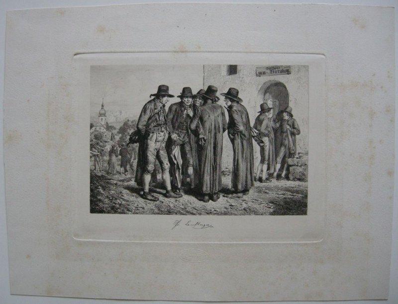 Ferdinand Laufberger (1823-1881) Vor dem Wirtshaus Orig Radierung um 1860