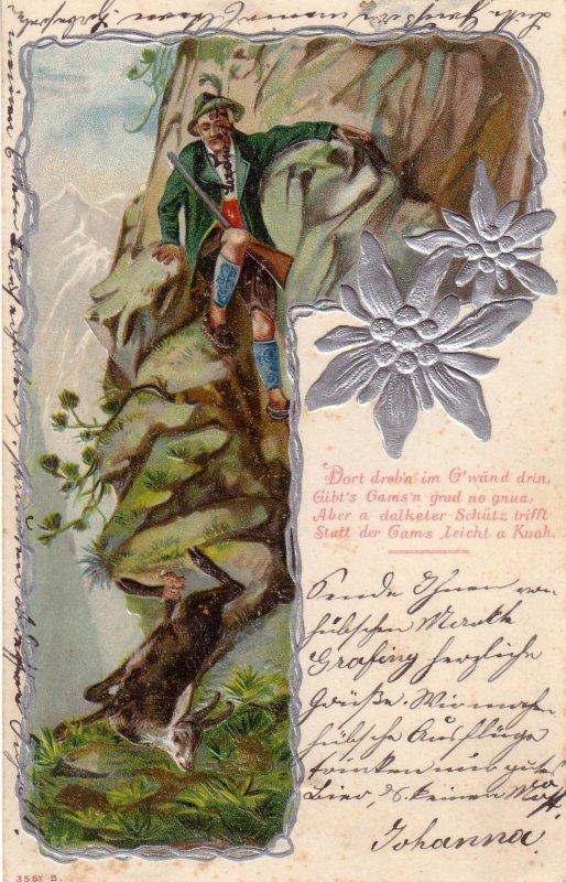 AK  Jäger Gemse Alpen Edelweiß Prägekarte gel  1901 Litho