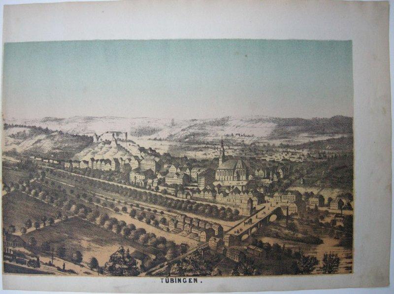 Tübingen Gesamtansicht Orig Lithografie Tonplatte 1869 Baden Württemberg