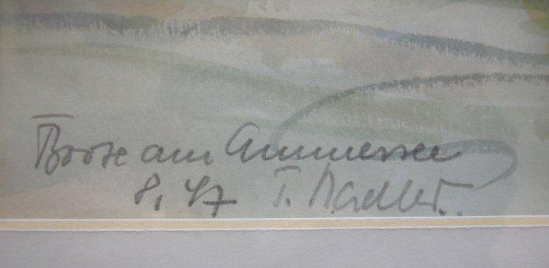 Boote am Ammersee Orig Aquarell signiert T. Nadler gerahmt 1947