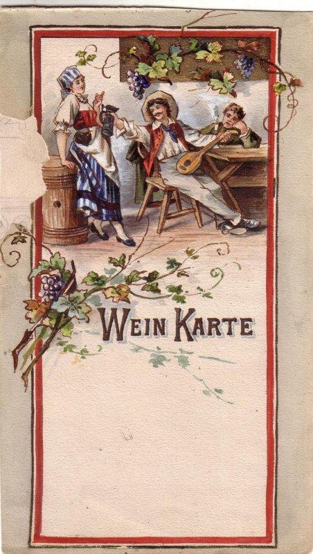 Wein Karte Orig. Aquarell Wein Weib Gesang 1900