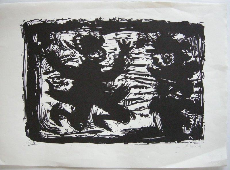 Willi Dirx (1917-2002) Figuren in Bewegung Orig Holzschnitt 1968 signiert 37/50