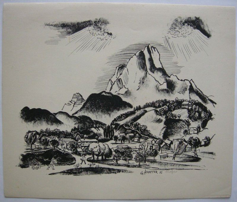 Gustav Schaffer (1818-1937) Dorf Lithografie 1932 signiert Künstlergr Chemnitz
