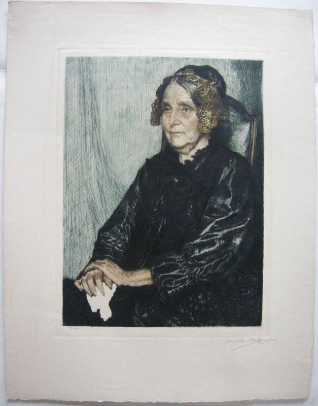 Corneille Max (1875-1924) Portrait Mina Gedon Orig Radierung 1910 signiert 0