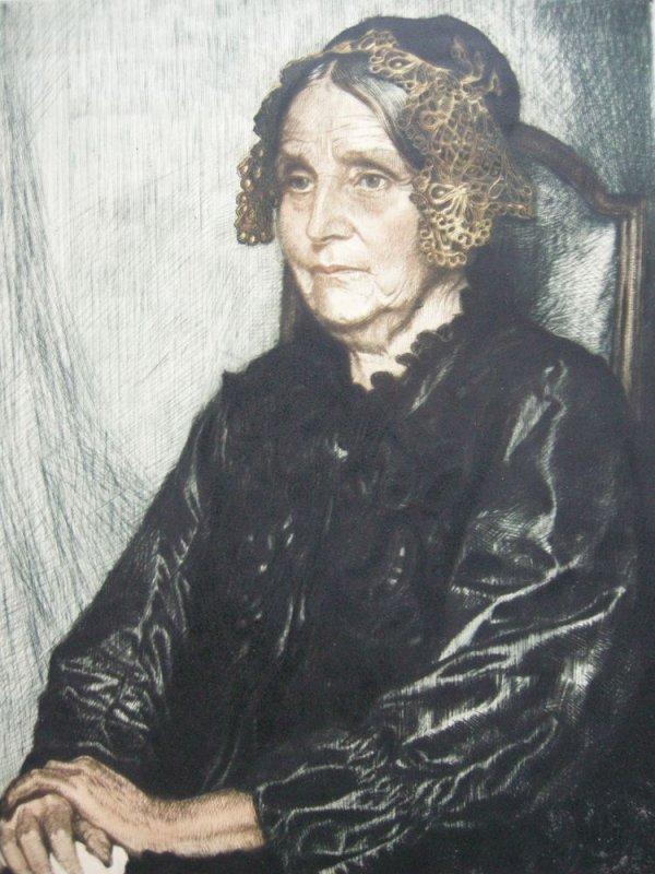 Corneille Max (1875-1924) Portrait Mina Gedon Orig Radierung 1910 signiert 1
