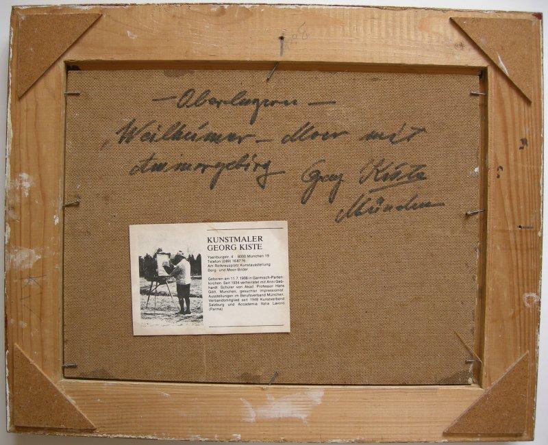 Weilheimer Moor Ölgemälde Georg Kiste 1960 signiert gerahmt Öl auf Platte