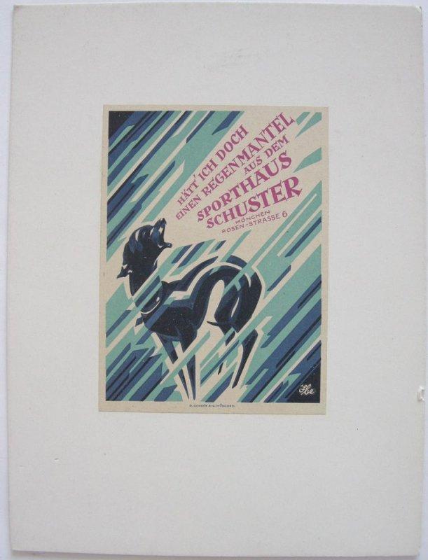 Art Deco Sporthaus Schuster München Werbekarte um 1930 Farblithografie
