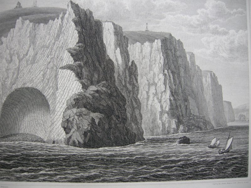 Isle of Wight Great Britain Freshwater Cliffs Copper engraving Brannon 1840