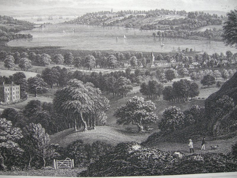 Isle of Wight Great Britain View from Nunnwell down engraving Brannon1830