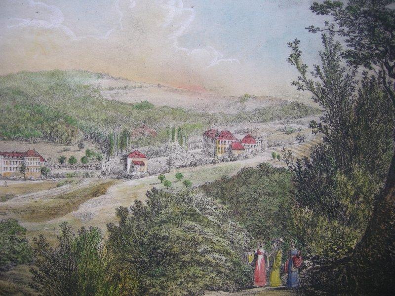 Mineral - Bad Brückenau Bayern Orig Farblithographie Domenico Quaglio 1817