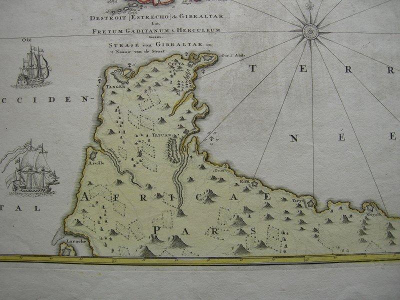 Cádiz Gibraltar España kolor Orig Kupferstichkarte Mapa 1740 Spanien