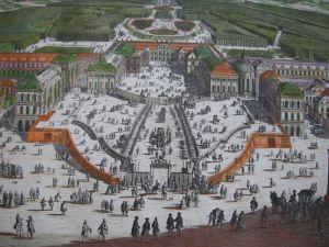 Versailles Chateau de Plaisance prächtiger kol Orig Kupferstich Seutter 1730