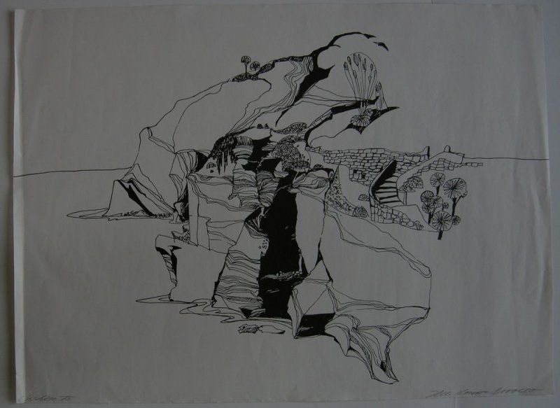 Mica Knorr-Borocco (1939) Ischia Orig Lithografie signiert 1975