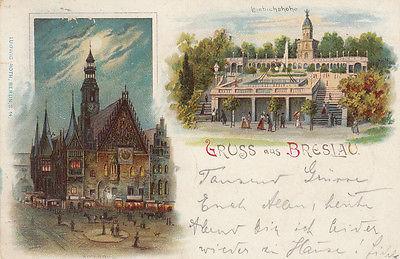 Ak Breslau Wroclaw Rathaus Liebichshöhe Polen Schlesien Slask Litho 1900