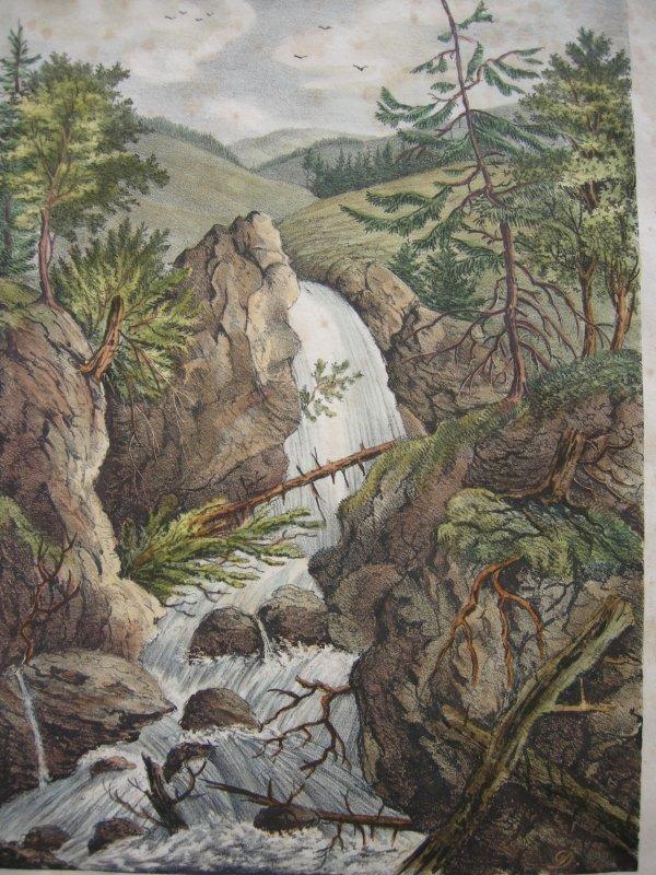 Wasserfall bei Hohenaschau Orig Farblithographie 1837 Chiemgau