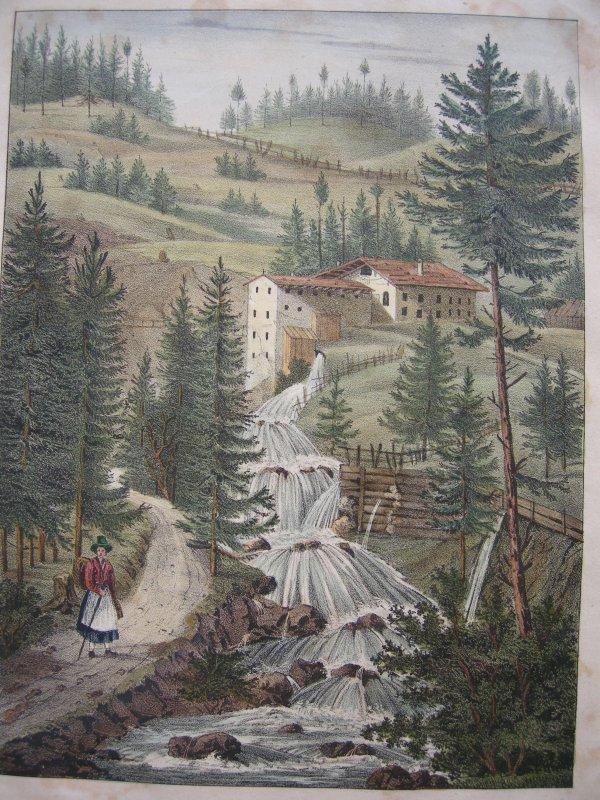 Drahtzieherei bei Hohenaschau Orig Farblithographie 1837 Chiemgau