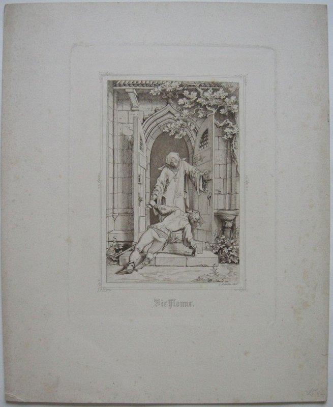 Eugen N. Neureuther (1806-1882)  Die Nonne Orig Radierung nach Schwind 1880