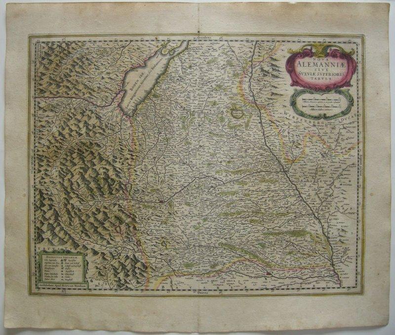 Oberschwaben altkolor Orig Kupferstich Hondius Amsterdam, 1635 Bodensee