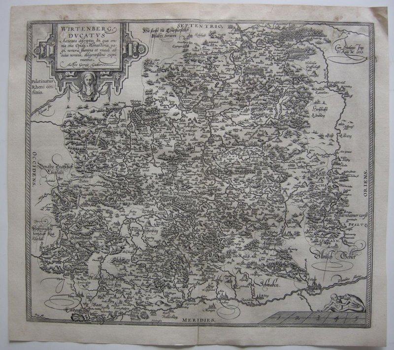 Herzogtum Württemberg Orig Kupferstichkarten Ortelius 1579 Gachner