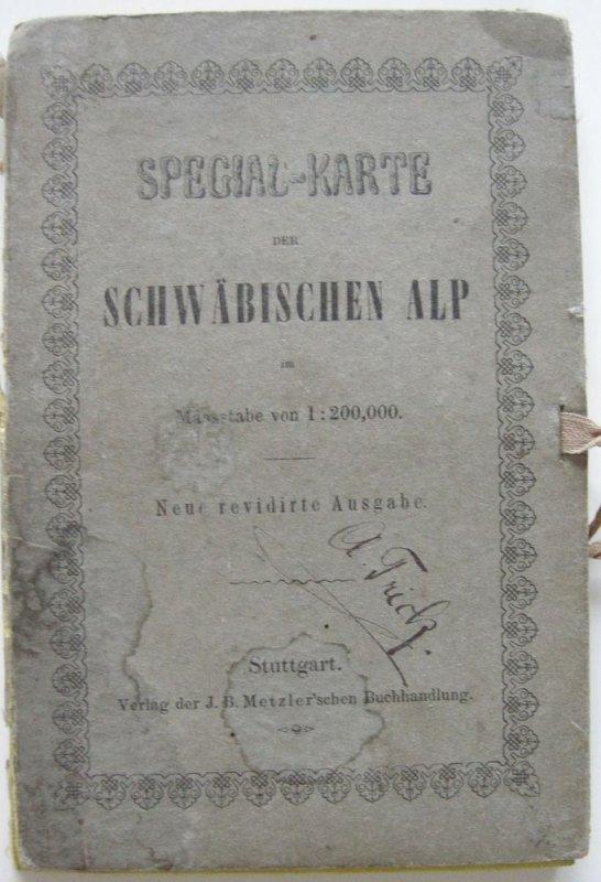 Spezial-Karte der Schwäbischen Alp Orig. Stahlstich 1880