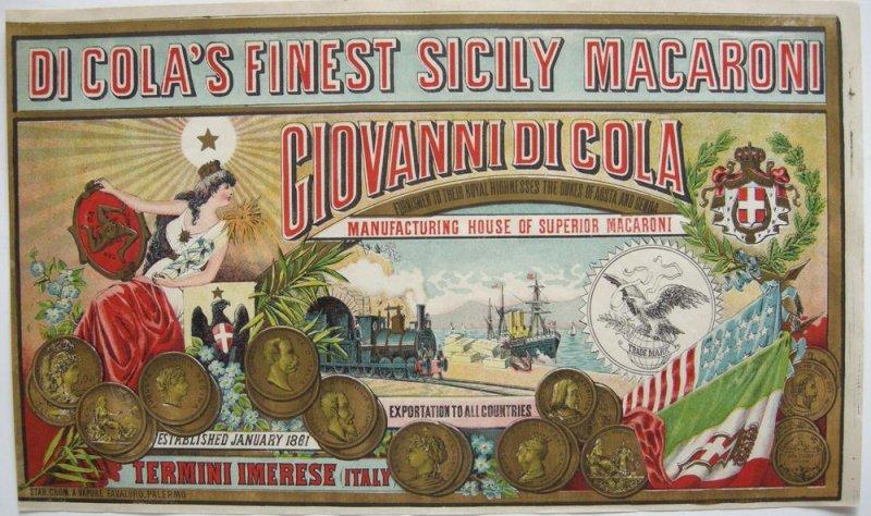 Plakat Di Cola's finest Sicily Macaroni Chromolithografie 1880 Palermo Pasta