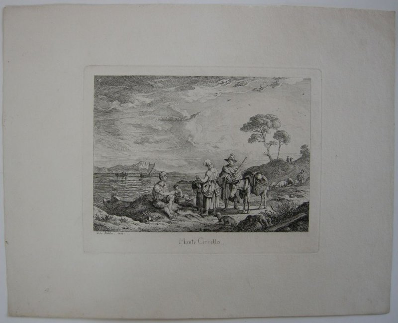 Ludwig Richter (1803-1884)  Monte Circello Italia Roma Orig Radierung 1831
