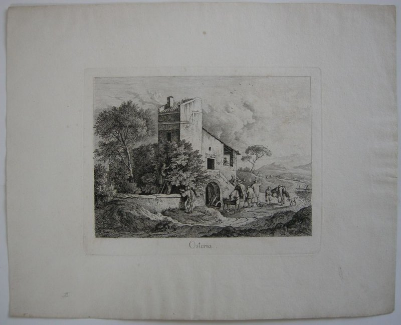 Ludwig Richter (1803-1884) Osteria Italia Roma Orig Radierung 1831
