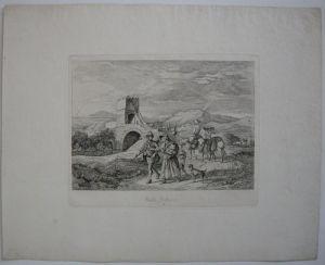 Ludwig Richter (1803-1884) Ponte Salaro Italia Roma Orig Radierung 1831