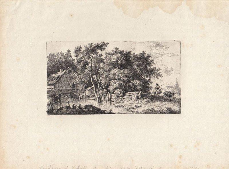 Ferdinand Kobell (1740-1799) Mühle vor dem Dorf Orig Radierung 1776