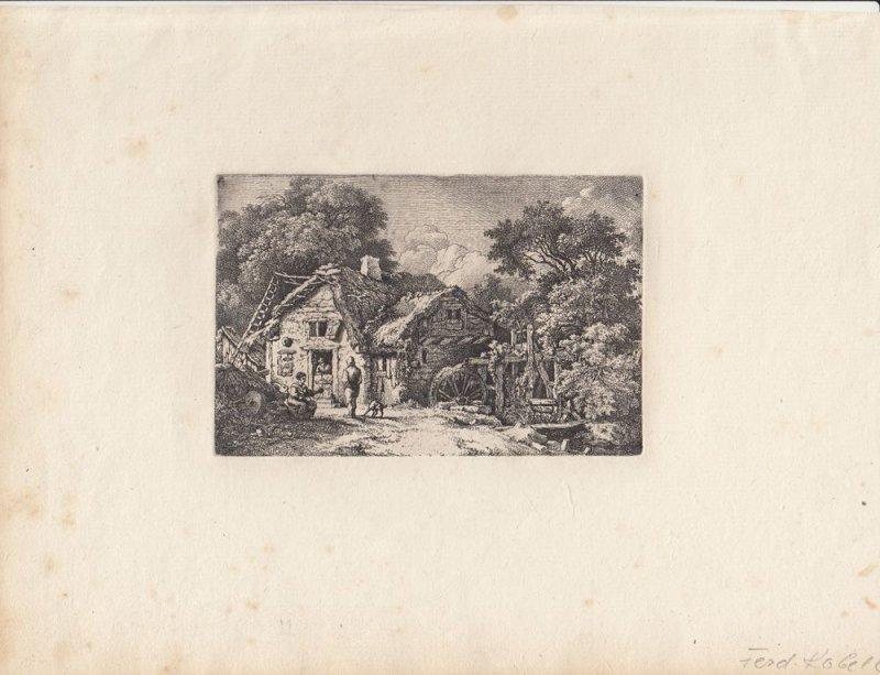 Ferdinand Kobell (1740-1799) Mühle im Wald Orig Radierung 1776