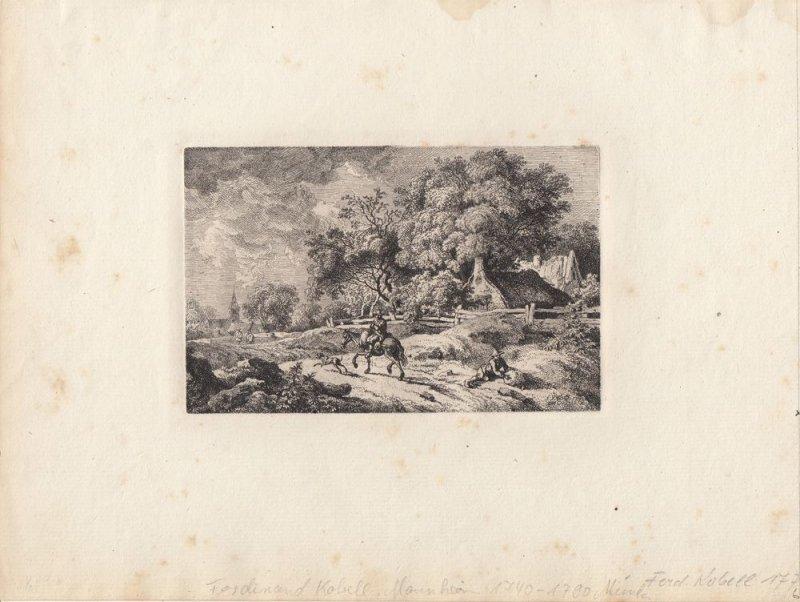 Ferdinand Kobell (1740-1799) Reiter vor einem Dorf Orig Radierung 1776