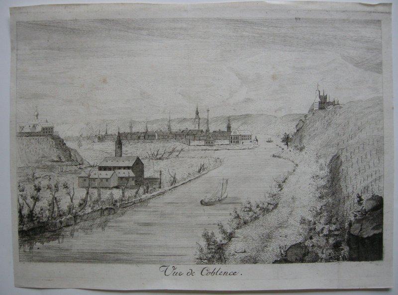 Seltene Ansicht Koblenz Rheinland-Pfalz Orig Kupferstich 1700