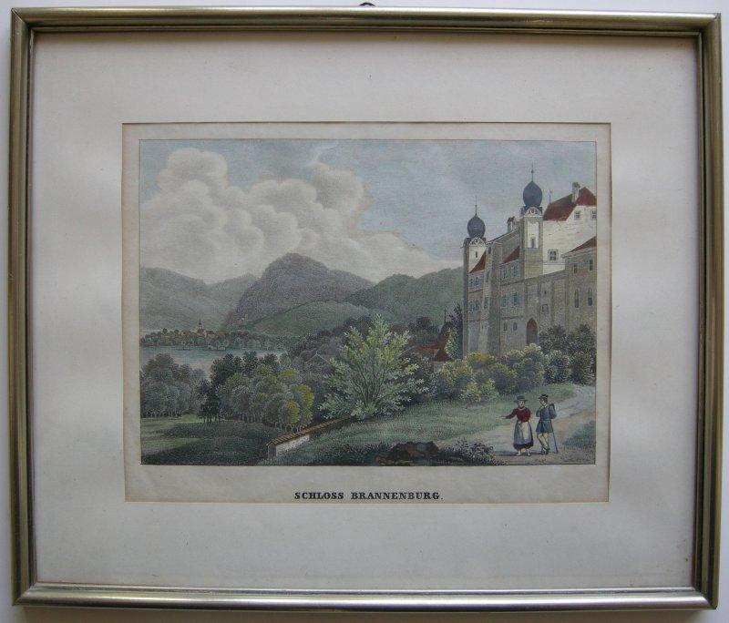 Schloss Brannenburg Orig Farblithographie Joh. Bapt. Dilger 1838 gerahmt