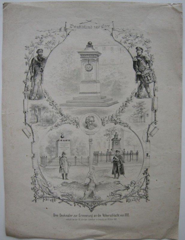 Denkmäler Völkerschlacht 1813 Orig Lithografie A. Toller 1863 Napoleon