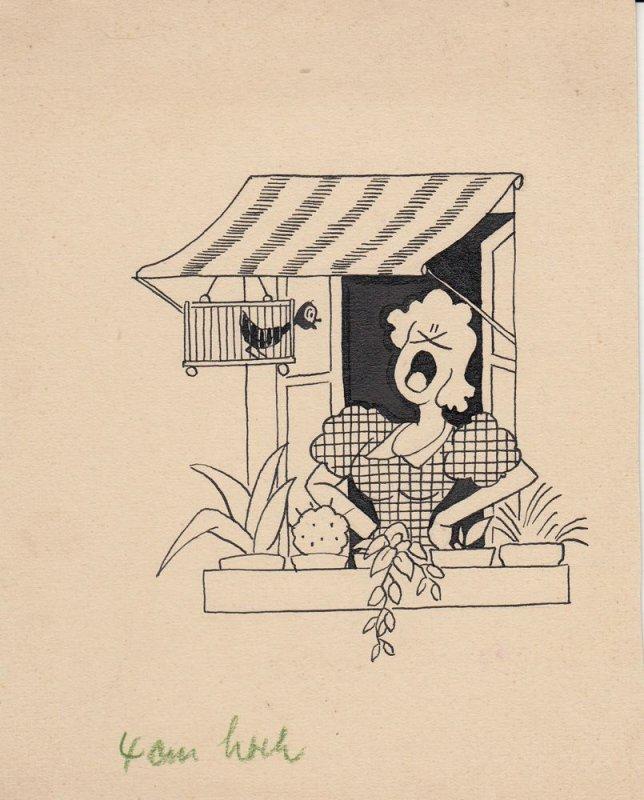 Otto Nückel (1880-1955) Sängerin Orig Tuschzeichnung  Simplicissimus 1950