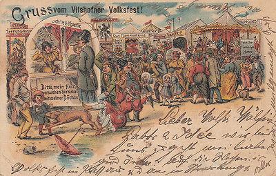 AK Vilshofen Volksfest Niederbayern Kirmes Litho gel 1906