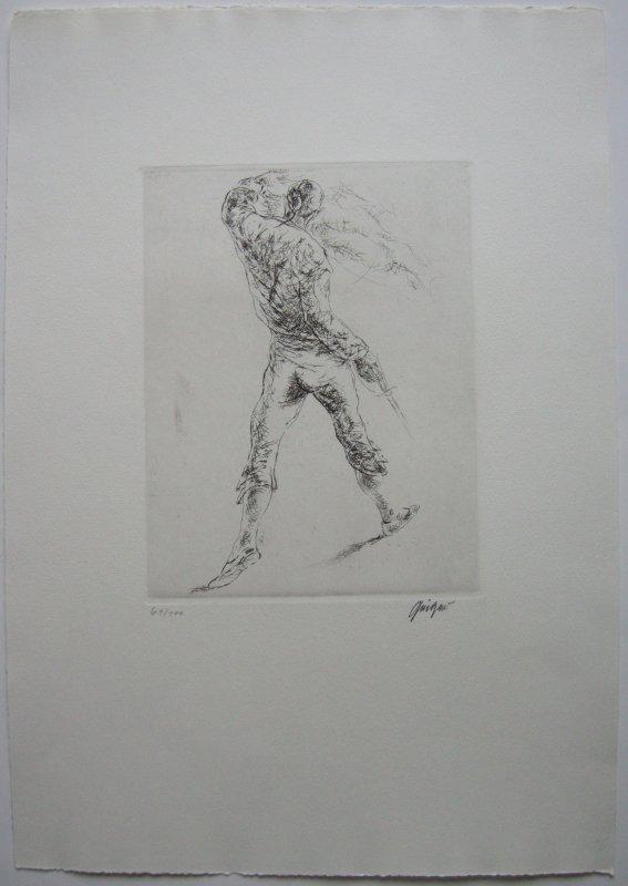 Willi Geiger (1878-1971) Matador Orig Radierung 1950 signiert 61/100
