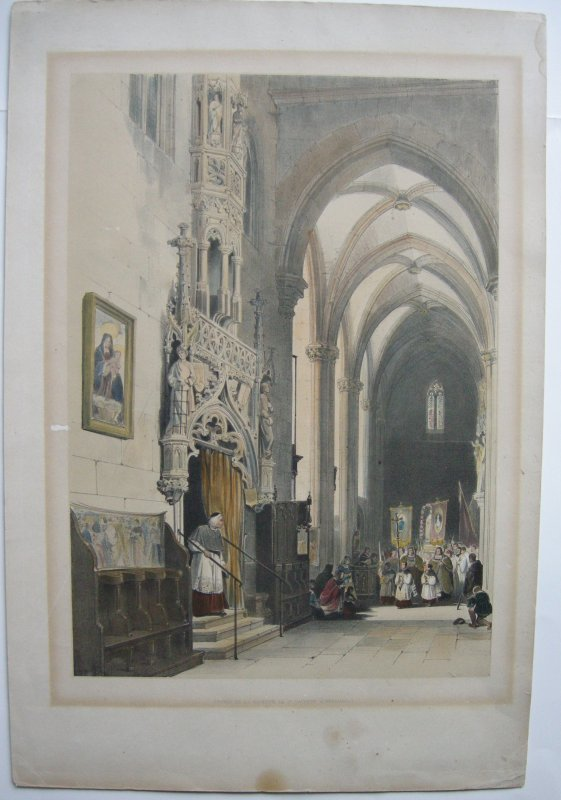 Nürnberg Lorenzkirche Eingang Sakristei Orig Farblithografie um 1840
